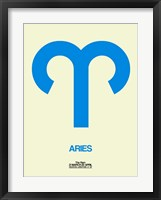 Framed Aries Zodiac Sign Blue