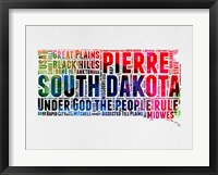 Framed South Dakota Watercolor Word Cloud