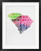 Framed South Carolina Watercolor Word Cloud
