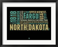 Framed North Dakota Word Cloud 1