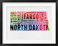 Framed North Dakota Watercolor Word Cloud