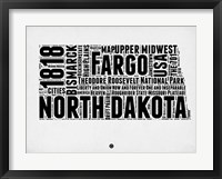 Framed North Dakota Word Cloud 2