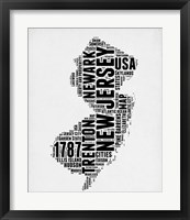 Framed New Jersey Word Cloud 2