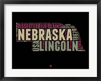 Framed Nebraska Word Cloud 1