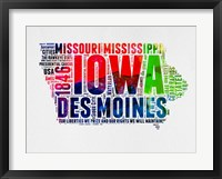 Framed Iowa Watercolor Word Cloud