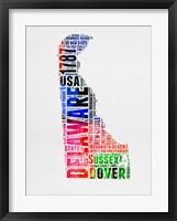 Framed Delaware Watercolor Word Cloud