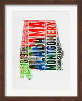 Framed Alabama Watercolor Word Cloud