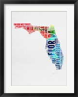 Framed Florida Watercolor Word Cloud