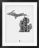 Framed Michigan Word Cloud 2