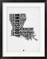 Framed Louisiana Word Cloud 2