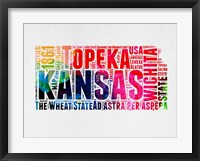 Framed Kansas Watercolor Word Cloud