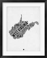 Framed West Virginia Word Cloud 2