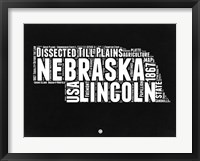 Framed Nebraska Black and White Map