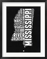 Framed Mississippi Black and White Map