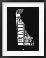 Framed Delaware Black and White Map