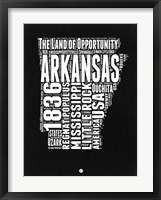 Framed Arkansas Black and White Map