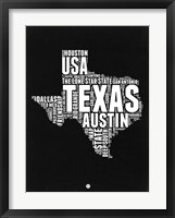 Framed Texas Black and White Map
