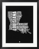 Framed Louisiana Black and White Map