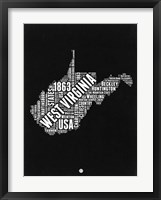 Framed West Virginia Black and White Map
