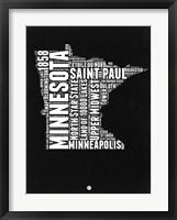 Framed Minnesota Black and White Map