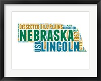 Framed Nebraska Word Cloud Map