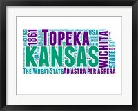 Framed Kansas Word Cloud Map