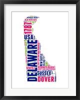Framed Delaware Word Cloud Map