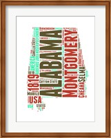 Framed Alabama Word Cloud Map