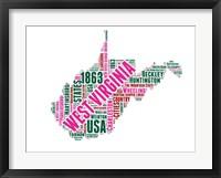 Framed West Virginia Word Cloud Map