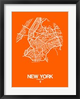 Framed New York Street Map Orange