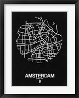 Framed Amsterdam Street Map Black
