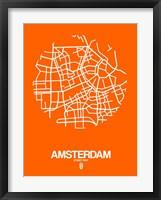 Framed Amsterdam Street Map Orange