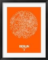 Framed Berlin Street Map Orange