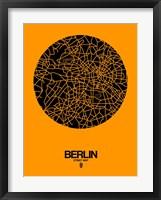 Framed Berlin Street Map Yellow