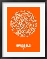 Framed Brussels Street Map Orange