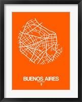 Framed Buenos Aires Street Map Orange