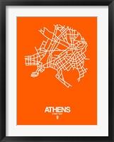 Framed Athens Street Map Orange