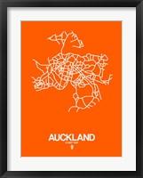 Framed Auckland Street Map Orange