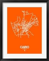 Framed Cairo Street Map Orange