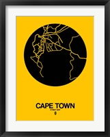 Framed Cape Town Street Map Yellow