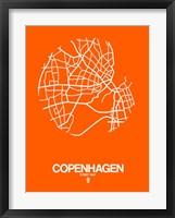 Framed Copenhagen Street Map Orange