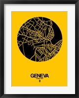 Framed Geneva Street Map Yellow