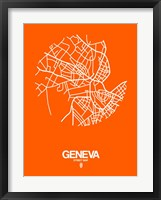 Framed Geneva Street Map Orange
