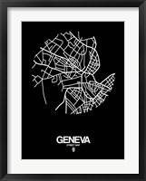 Framed Geneva Street Map Black