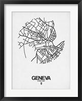 Framed Geneva Street Map White
