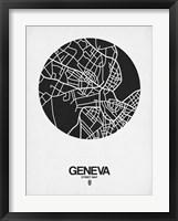 Framed Geneva Street Map Black on White