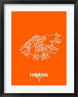 Framed Havana Street Map Orange