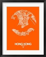 Framed Hong Kong Street Map Orange