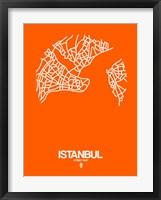 Framed Istanbul Street Map Orange