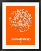 Framed Johannesburg Street Map Orange